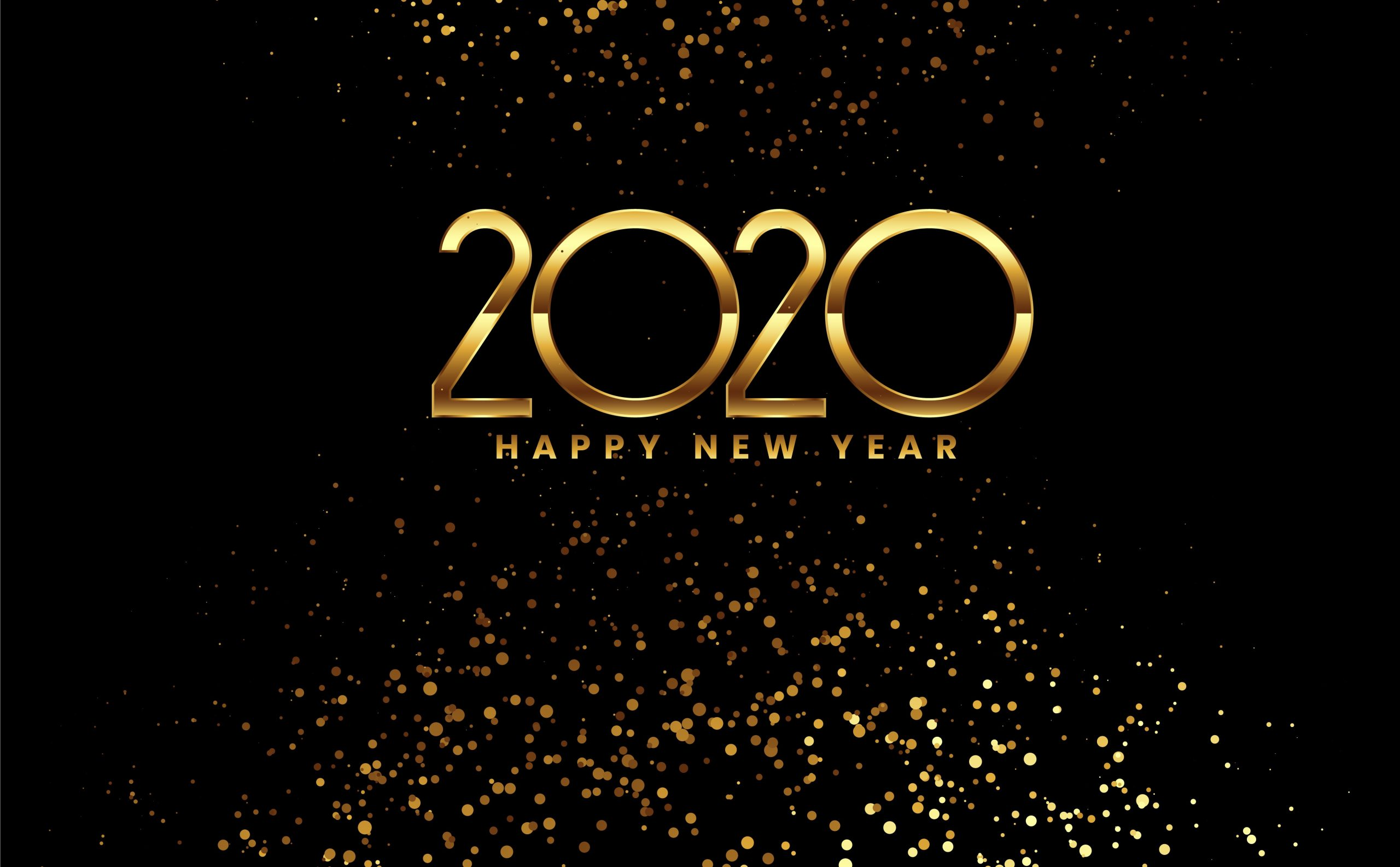 Happy New Year 2020 Celebration Background With Golden Confetti