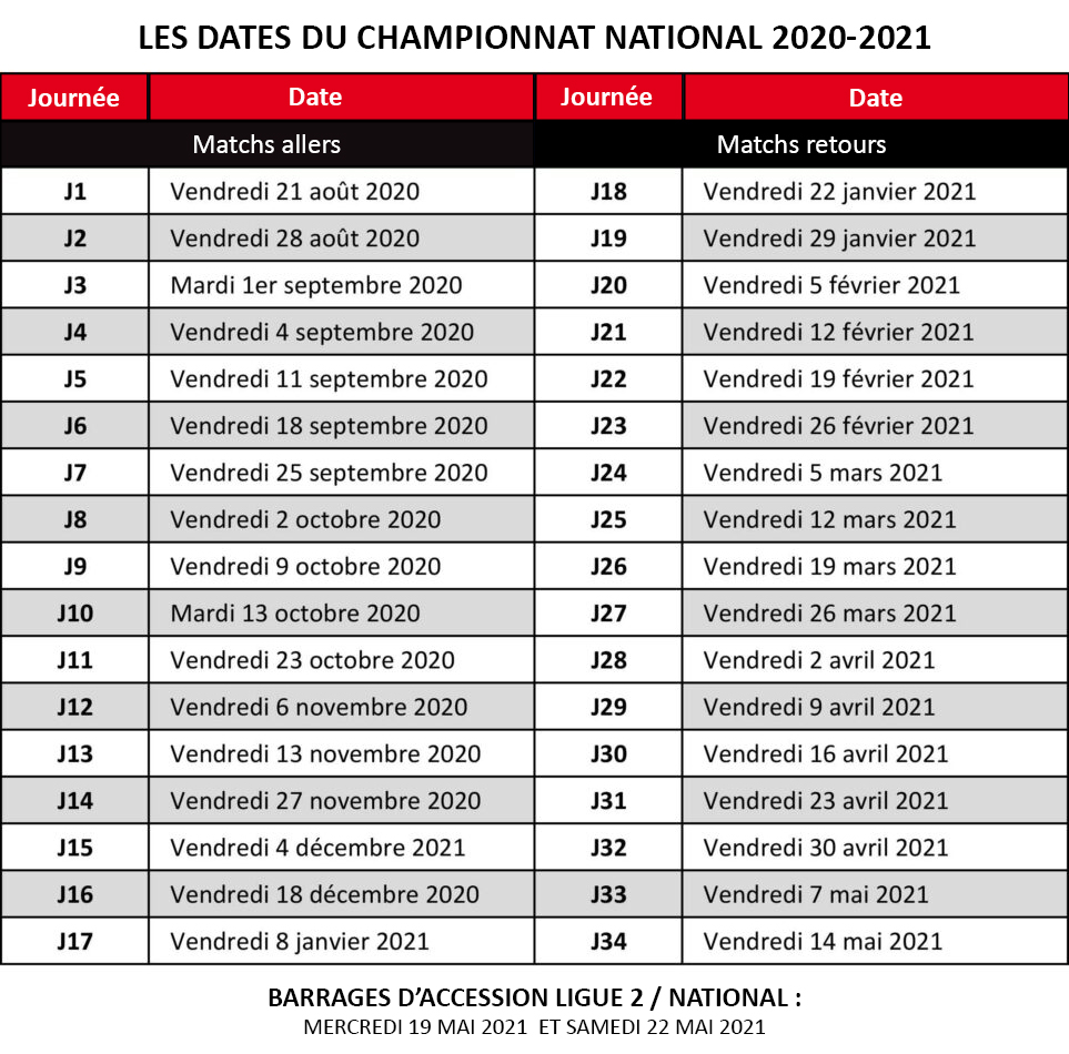 Date Calendrier National 20 21